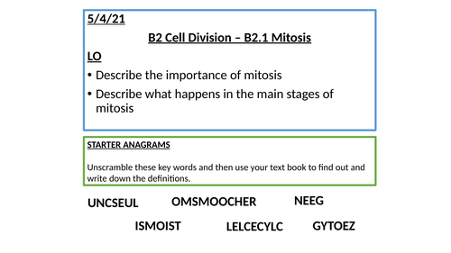B2 Cell Division Lessons