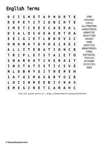 English Terminology Wordsearch