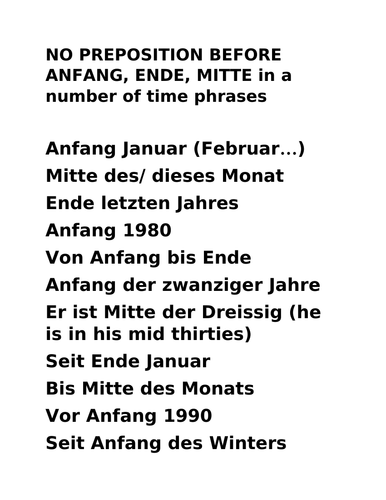 GERMAN A LEVEL AQA 'Anfang' 'Ende' 'Mitte'-  and other expressions of time