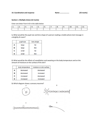 IGCSE Biology-Topic 14-Coordination and response -Test and Mark scheme.