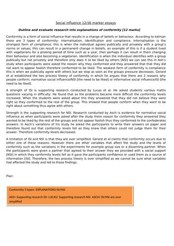 social influence 12/16 marker essay bundle
