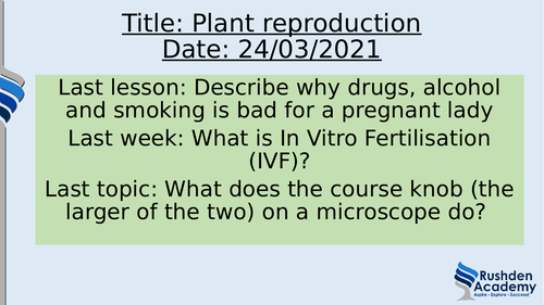 KS3 Reproduction complete unit (human and plant)