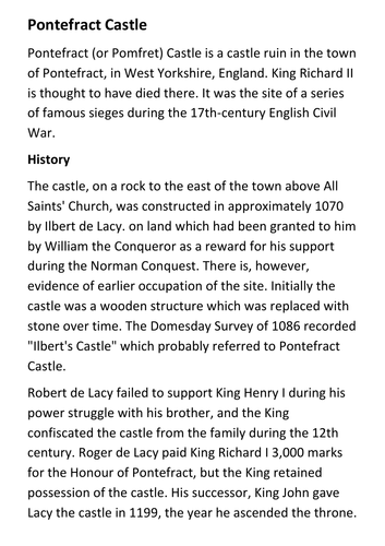 Pontefract (or Pomfret) Castle Handout