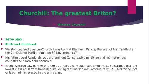 Churchill:  Early Life, career and Family