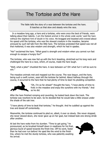 The Tortoise and the Hare-KS2 guided reading text
