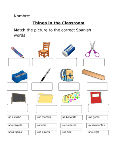 School Objects/Things in the Classroom