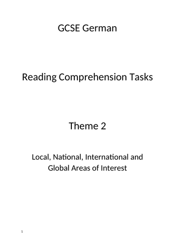 GCSE German AQA Theme 2 Reading Comprehension Tasks