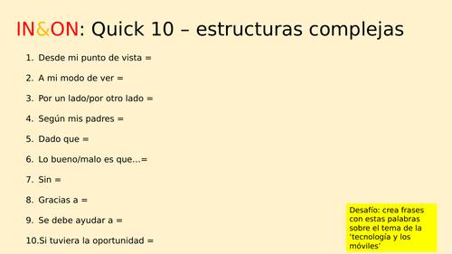 GCSE Spanish Writing skills (AQA writing assessment preparation)
