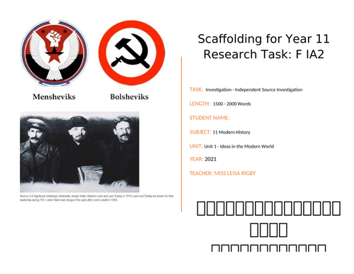Modern History - Russian Revolution - Research task scaffolding booklet