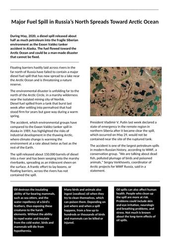 Russia oil spill, 2020 case study