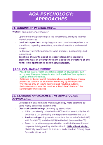 AQA Psychology A-Level: approaches revision
