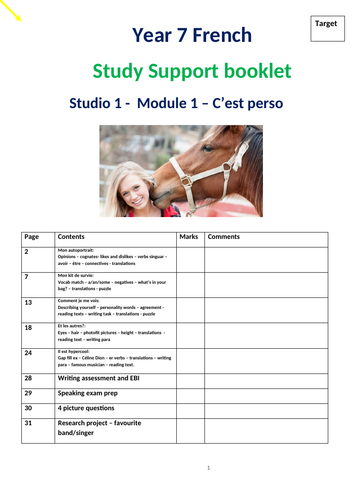 Studio 1 Module 1 C'est perso study support booklet (lower ability)