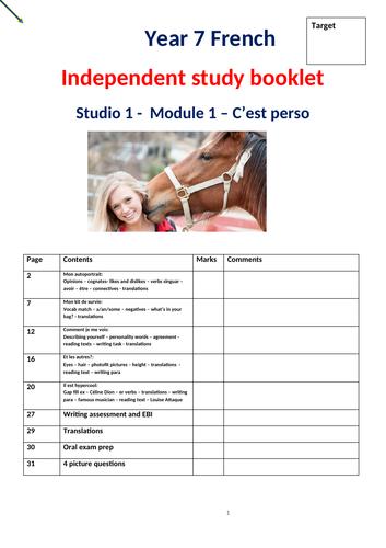 Studio1 module 1 C'est perso Independent study booklet - standard