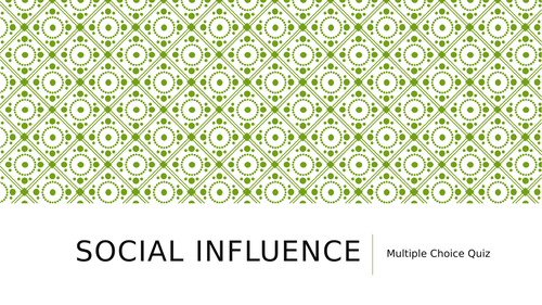 AQA Psychology Social Influence Quiz
