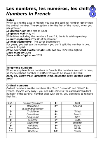 French  Numbers Word Mat