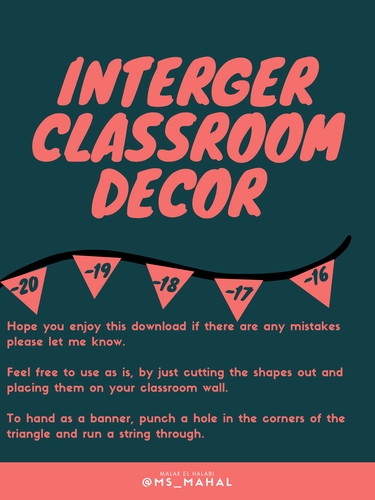 Classroom Decorations: Integer Number Lines