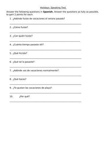 KS3 Spanish: Vacaciones (Holidays) Speaking Test Questions