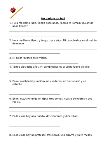 Yr 7 Spanish game: One dice one pen. Term 1 revision