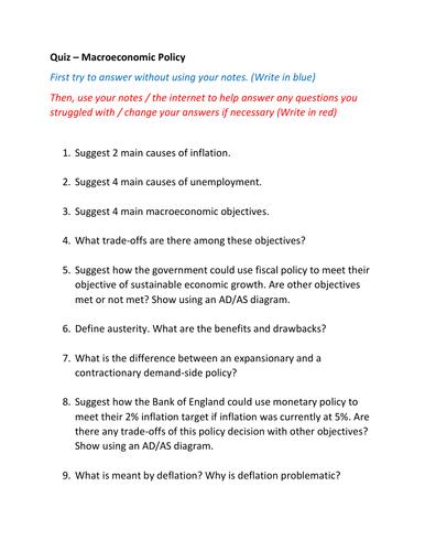 Quizzes Macroeconomic Policy
