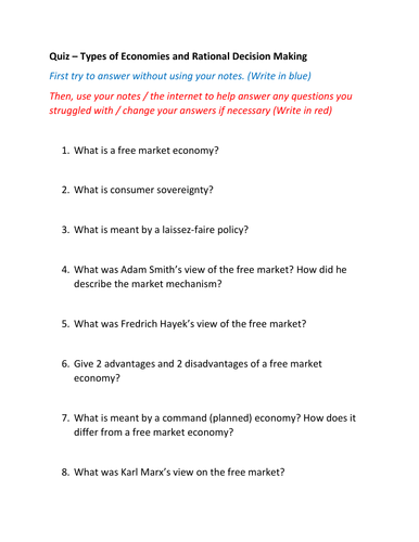Quizzes Command Economy, Rational Decision Making and Money