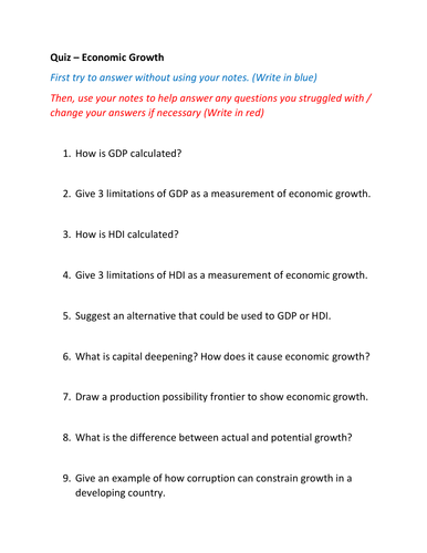 QUIZZES AND ACTIVITIES - MACROECONOMIC VARIABLES AND OBJECTIVES