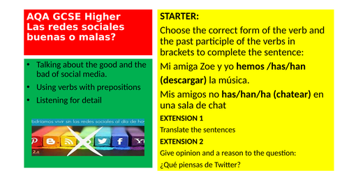 AQA GCSE Spanish Higher Las redes sociales  - buenas o malas