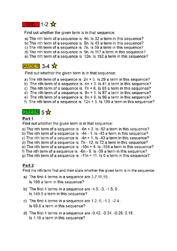 Linear Sequences - Is a Term in the Sequence? - FULL LESSON with ANSWERS