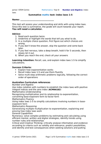 Index laws summative test (editable) - AC Year 8 Maths - Number and Algebra (Index laws)