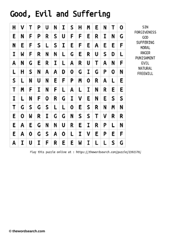 Good, Evil and Suffering Word Search
