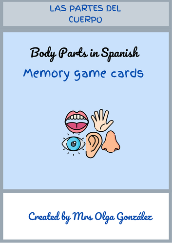Parts of the Body in Spanish - Memory Game