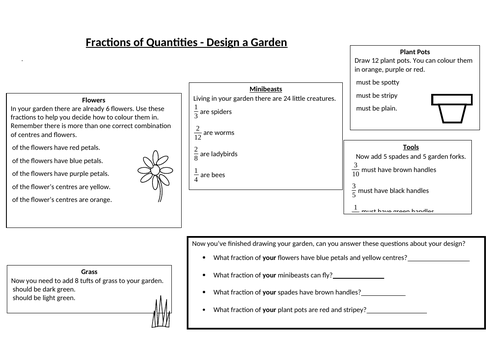 Fractions of Quantity/Amount - Garden Design