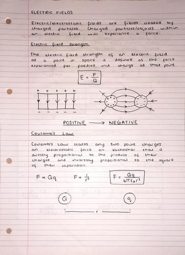 A Level Physics Notes: Electric Fields