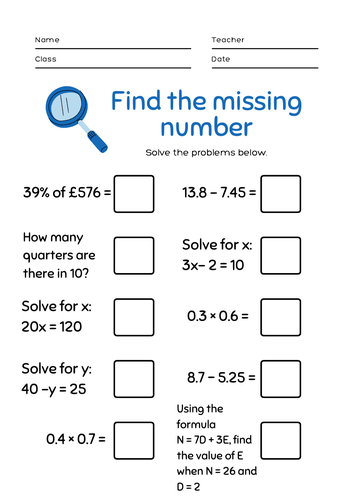 KS3 / GCSE Revision Sheet. 10 mixed questions. Percentages, fractions, algebra..