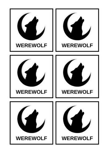 Werewolf/Mafia Game Cards