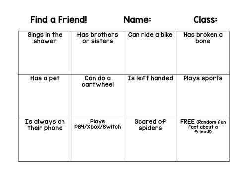 Find A Friend Bingo Sheet