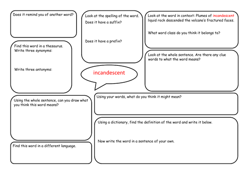 Using words in context year 5/6 guided reading word mat