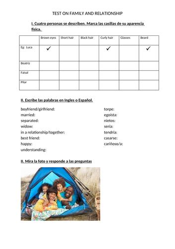 y10-11 Mi familia y Las Relaciones Worksheet