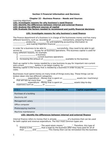 iGCSE Business Studies - Section 5 - Finance