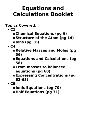 AQA Chemistry Equations and Calculations Booklet