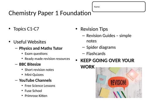 AQA Chemistry Combined Science Paper 1 Revision Sheets