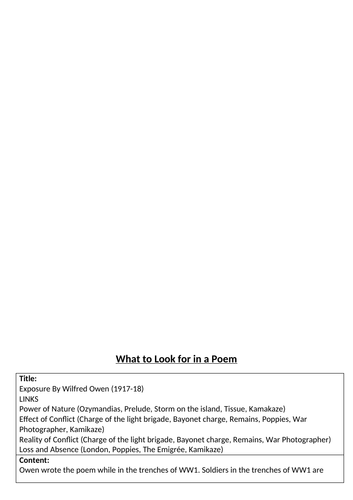 What to look for in a poem - Exposure