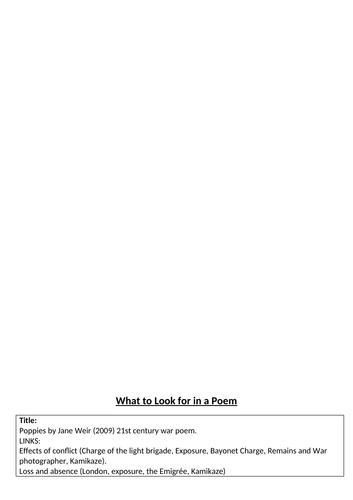What to look for in a poem - Poppies