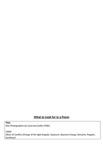 What to look for in a poem - War Photographer