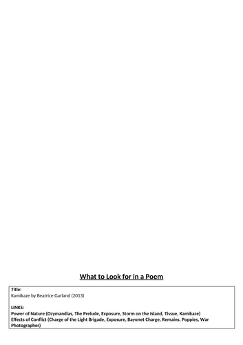 What to look for in a poem - Kamikaze
