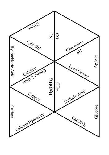 Chemical compound name and formula Tarsia game puzzle