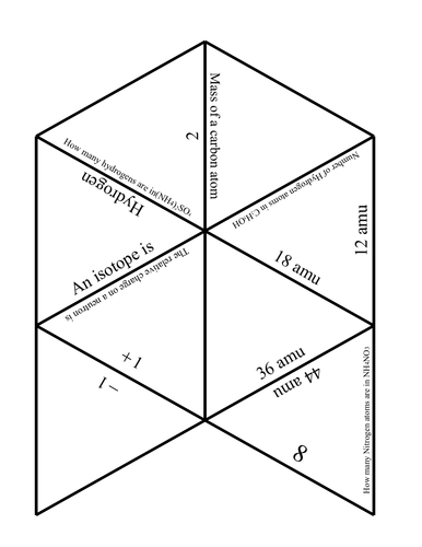 Tarsia Atomic structure, masses and number of atoms in a compound.