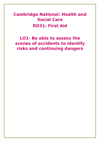 Health and Social Care: RO31 First Aid