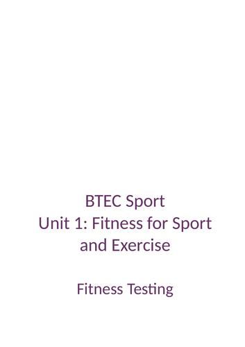 BTEC Sport Unit 1 : Fitness Test
