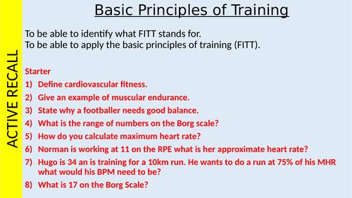 BTEC Sport: Unit 1 Principles of Training