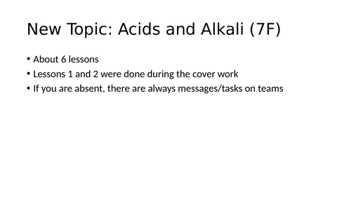 Year 7 Acids and Alkali lessons (7F Exploring Science)